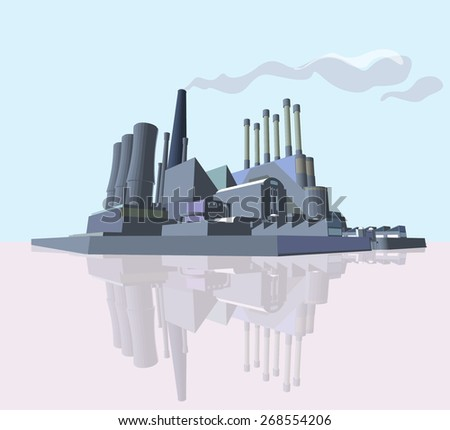 Manufacture Building or Power Plant. 3D Vector Graphics. Abstract Industrial Factory - stock vector