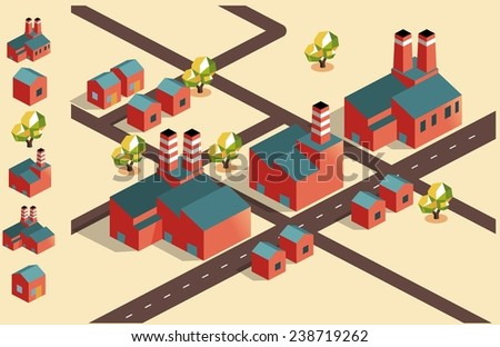 manufacture factory area. isometric vector - stock vector