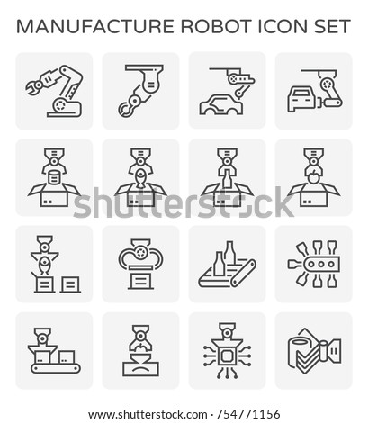 Manufacture robot and production line icon set.