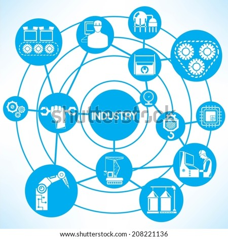 manufacturing concept info graphic network with blue theme