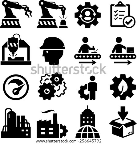 Manufacturing plant and factory icons. Vector icons for digital and print projects. - stock vector