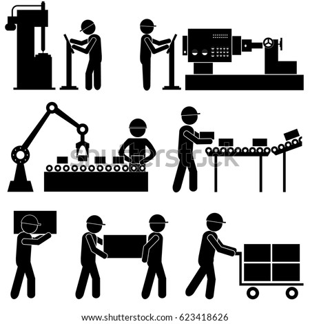 Manufacturing Process Industrial Background. Stick Figure Pictogram Icon