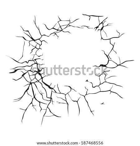 many black cracks arranged in a circle on a white background