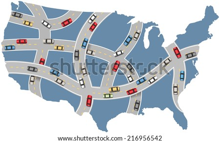 Many cars drive USA roads on travel transportation map of America - stock vector