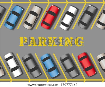Many cars parked in store or business parking lot filling all the spaces - stock vector
