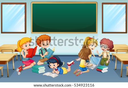 Illustration Happy Students Inside Classroom Stock Vector