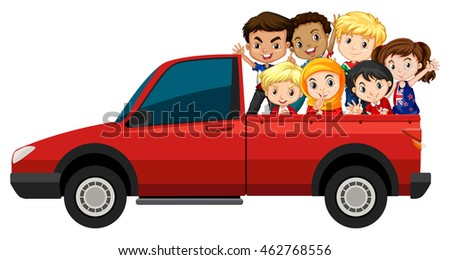 Many children riding on red truck illustration