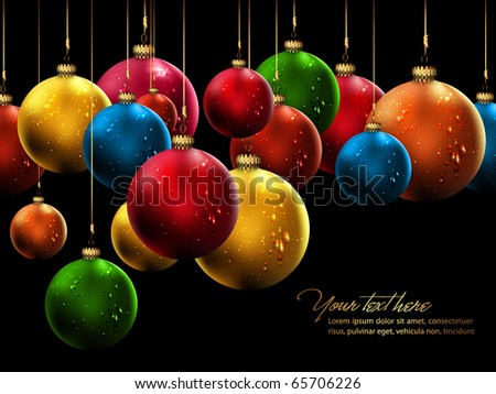 Many Christmas Balls with Shiny Water Drops | Vector Background - stock vector