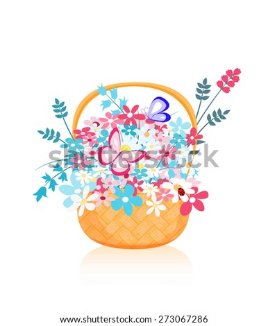 many colorful wild flowers in straw basket and flying butterfly on white background, vector illustration - stock vector