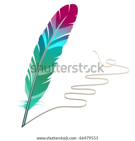 Many-coloured feather isolated on white background with flourish - stock vector