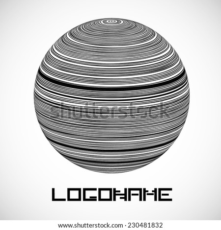 Many Curved Strings Globe Icon or Logo Design for your Company, Vector Illustration  - stock vector