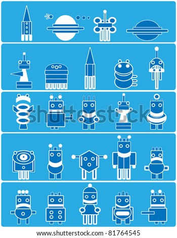 Many cute blue robots with planets and spaceship. Cartoon.