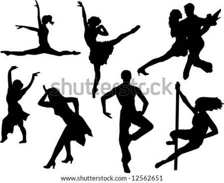many dancers vector outline silhouettes - stock vector