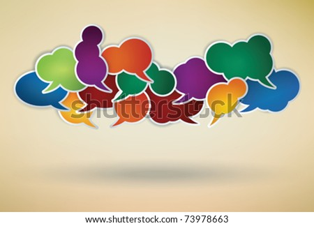 many different colored speech bubbles as a social network symbol - stock vector