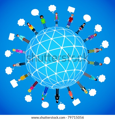 many different people on the globe - stock vector