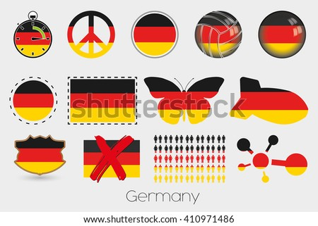 Many Different styles of flag for Germany - stock vector