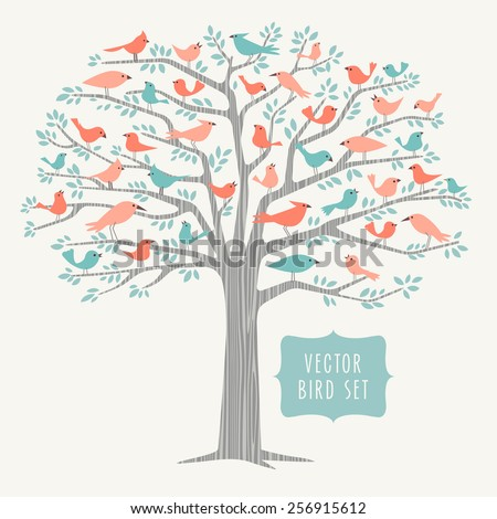 many different stylized birds perched in a big tree in Springtime   - stock vector