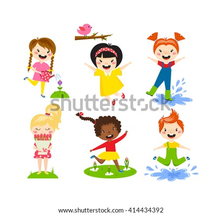 Many different summer kids, boys and girls running in the park on sunny summer day in casual clothes. Summer kids vector and playing happy summer kids. Summer kids fun joy childhood leisure. - stock vector