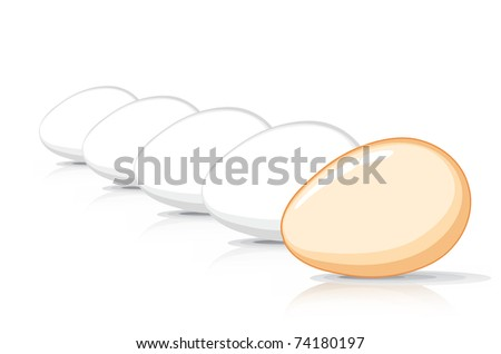 Many Eggs in a row - stock vector