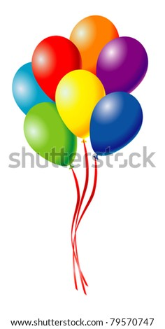 many festive colored balloons - stock vector