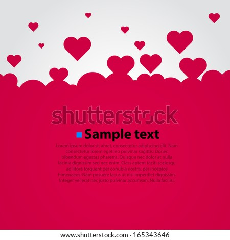 Many flying hearts. Simple design. Vector background. - stock vector