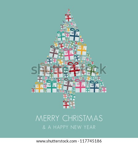 many gift box colorful christmas tree stack - stock vector