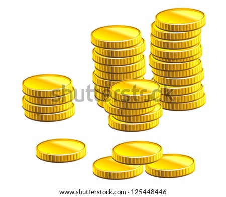 Many gold coins isolated on white background for business and economic concepts design. Jpeg version also available in gallery - stock vector