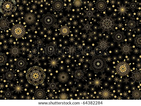 Many gold stars and snowflakes on a black background - stock vector
