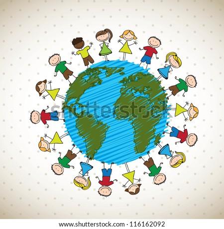 many happy children around the world vector illustration - stock vector