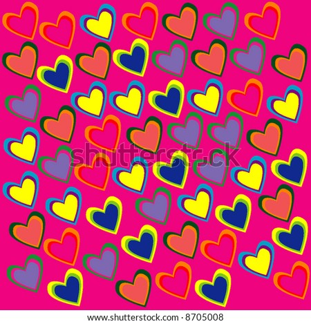 Many hearts in pink background - stock vector