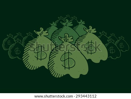 Many hidden money bags - stock vector