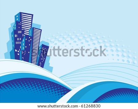 Many houses  on the blue background - stock vector