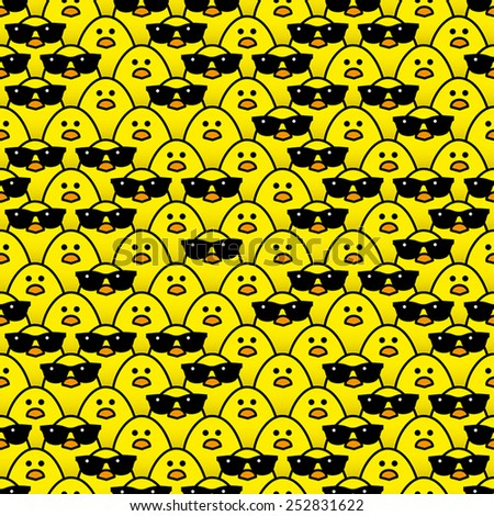 Many Identical Yellow Chicks Staring at camera with some Randomly wearing Cool Black Sunglasses  - stock vector