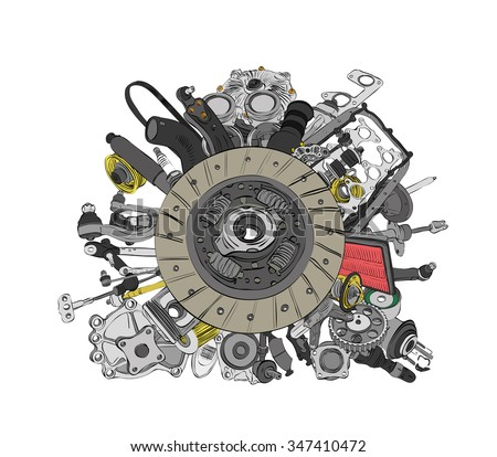 Many images of spare parts for the passenger car - stock vector