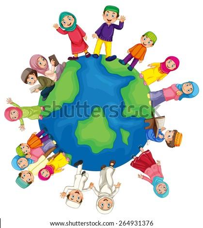 Many Muslim around the world - stock vector