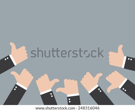Many of thumbs up - stock vector