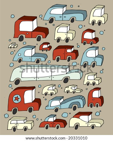 Many old-fashioned hand-drawn cars.