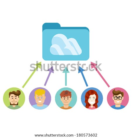 Many people is using cloud storage and they are satisfy and happy. Vector with modern flat vector design illustration. Isolated on white background. - stock vector