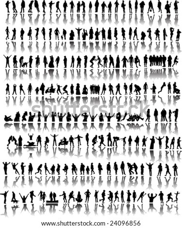 Many people silhouette with reflection vector