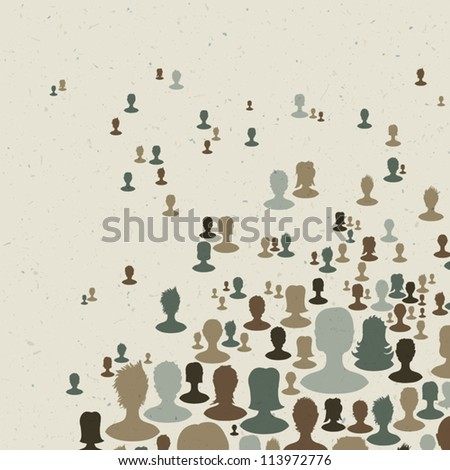 Many people silhouettes, abstract communication themed background. Vector, EPS10 - stock vector