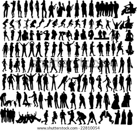 Many people silhouettes in vector clip-art - stock vector