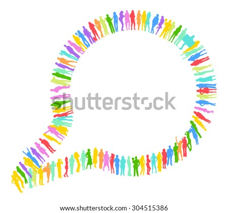 Many People Speech Bubble made of Vector Silhouettes  - stock vector
