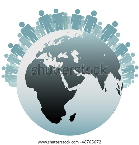 Many people stand on the Northern Hemisphere as symbols of the Population of Earth. - stock vector