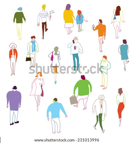 Many people walking, talking and standing - crowd illustration  - stock vector