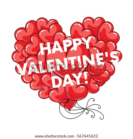 Many Red Balloons In The Shape Of A Heart. Balls In The Sky. Vector