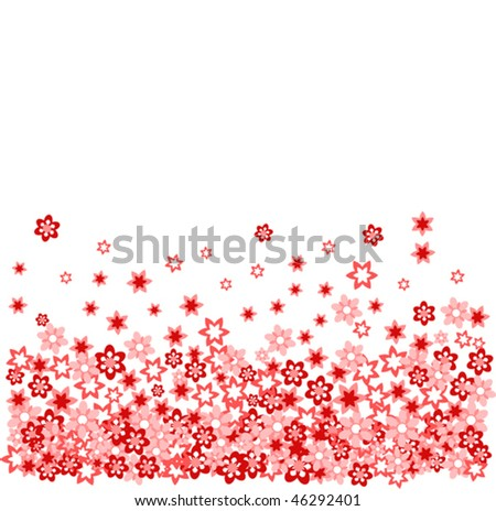 many red flower on withe vector illustration - stock vector
