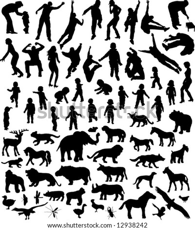 many silhouettes of people and animal in action and in place - stock vector