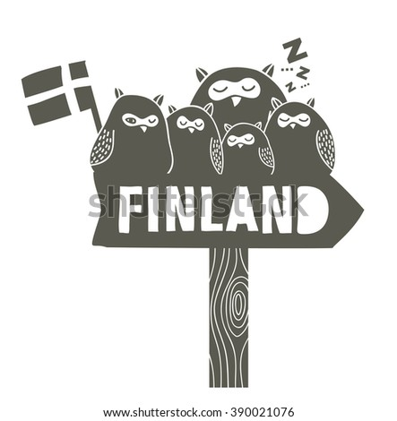 Many sleeping owls on the tablet. Vector illustration for Finland trip. - stock vector
