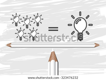 Many small ideas equal a big one - stock vector