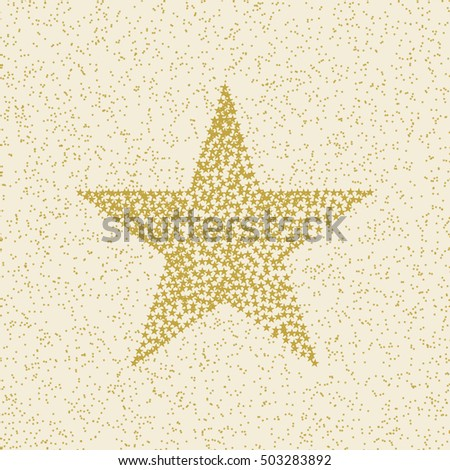 Many small stars make up a large star on stars background